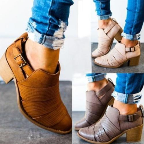 Women Classic Ankle Buckle Booties Casual Comfort Boots