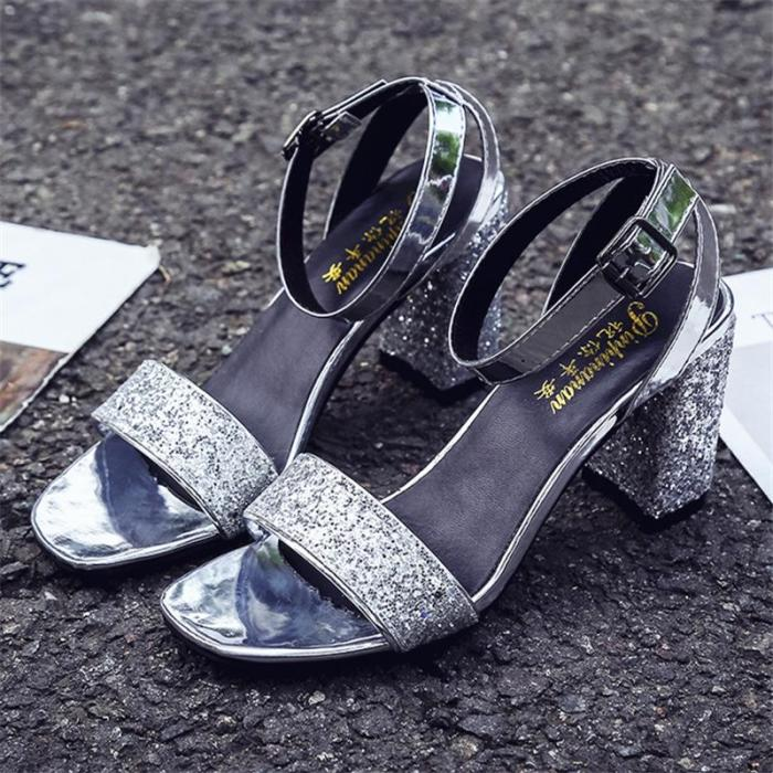 Large Size Sandals Women's New Wild Thick Buckle with Summer Chunky High Heels
