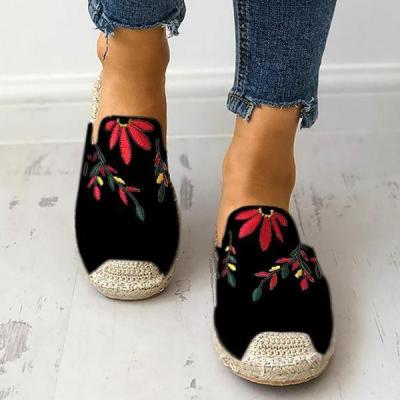 Fashion Embroidered Espadrille Flat Slippers