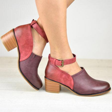 Chunky Heel Booties Adjustable Buckle Casual Ankle Strap Boots