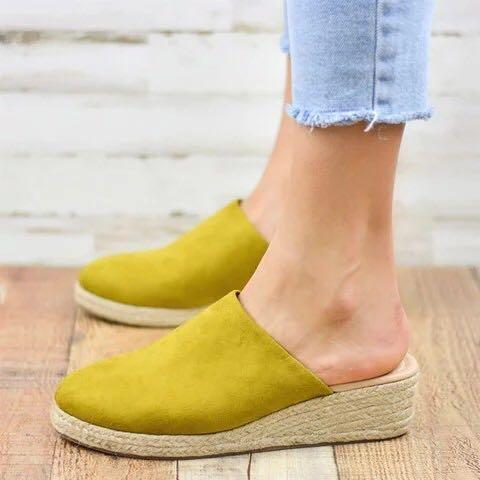 Artificial Suede Slip-On Straw-Weaved Wedges Sandals