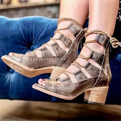 Women's Hollow Back Zip High Heel Sandals