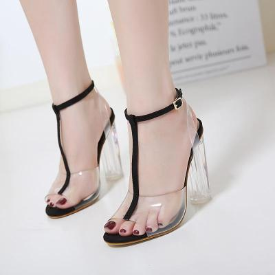 Europe and The United States Large Transparent Thick High-heeled Sandals Women