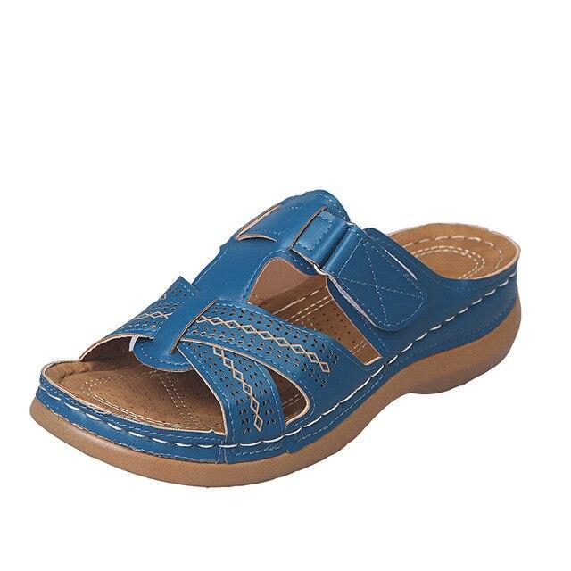 hollow out pu leather slides fashion flat heels rome style sandals