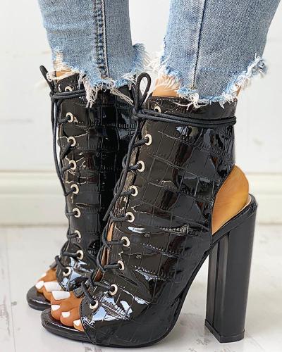 Peep Toe Bandage Crisscross Chunky Heeled Boots