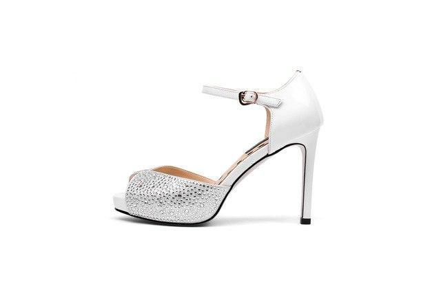 Women Sandals Genuine Leather Summer Shoes Sexy Peep Toe Party Wedding High Heel