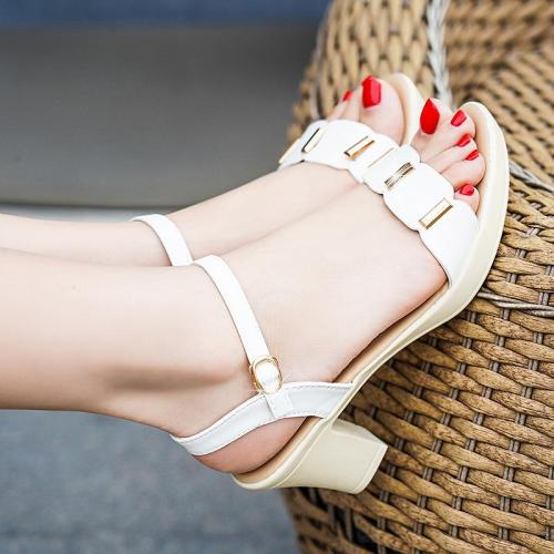 Metal buckle thick heel non-slip sandals summer new  women's shoes female high heels female