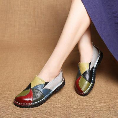 Spring Summer New PU Leather Women Flats Mixed Color Slip on Shoes for Women Ladies Shoes