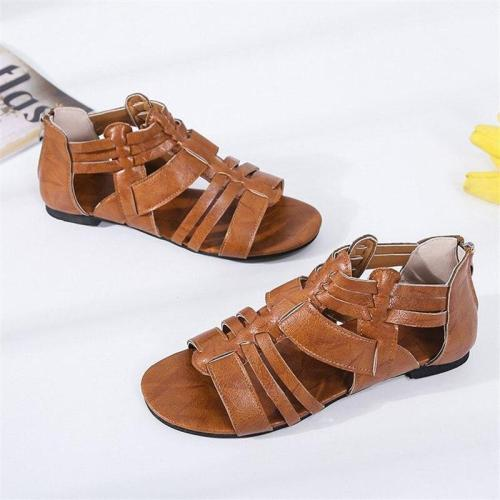 Open Toe Causal Women Sandals Summer New Women Sandals Fashion Low Heels Zipper Cover Heel