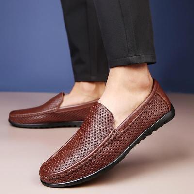 Men Shoes Slip on ventilation holes Mans Shoe Genuine leather Breathable Formal Loafers Boat Footwear Flat Moccasins