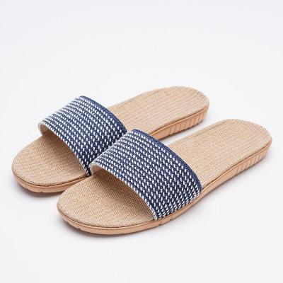 Linen Home Slippers Women Non-Slip Sandals And Slippers Beach Outdoor Slides Flat Shoes