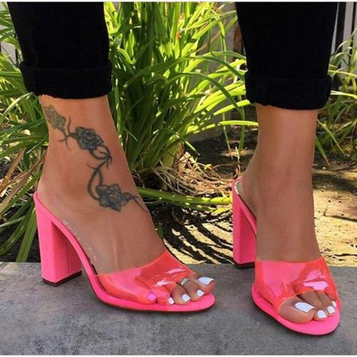 Summer New Women Shoes Open Toe High Heels Sandals Fashion Solid Color Outdoor Slippers Plus Size 42