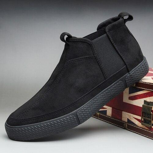 Autumn New Men's Chelsea Boots British Fashion Flannel Slip on Suede Shoes Breathable Wear-resisting Rubber Loafer Boots
