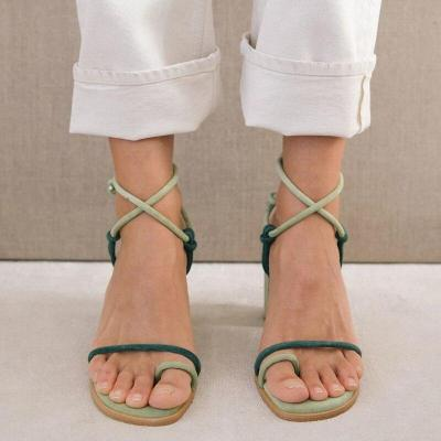 Women High Heels New Fashion Green Ankle Strap Sandals Sexy Lace Up Ladies Pumps Party Wedding Sandals Women Summer Shoes