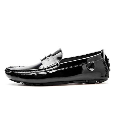 Split Genuine Leather Mens Loafers Fashion Handmade Men Casual Shoes Black Slip on