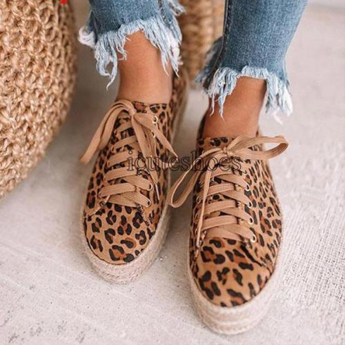 Fashion Leopard Flats Women Shoes Casual Canvas Platform Shoes Woman Sneaker