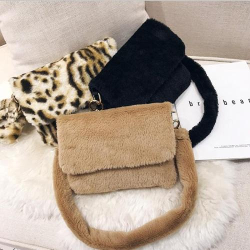 New Women Winter Faux Fur Shoulder Bag  Handbag Lady Leopard Print Handbag Female Party Small Girls Tote Bag Christmas Gift