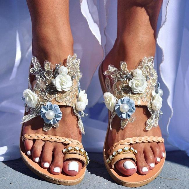 Flat With Toe Ring Slip-On Casual Floral Slippers