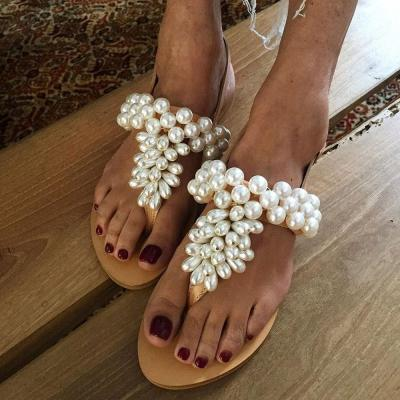 Flat With Slip-On Thong Beads Casual Slippers