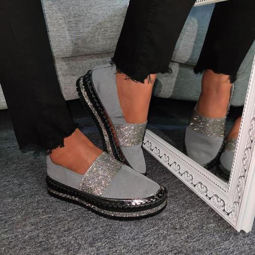 Women Fashion Rhinestone Color Block Slip-on Loafers