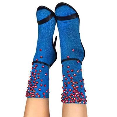 Top Quality Women Glitter Red Rhinestones Socks Gold Sliver Shiny Lake Blue Ankle Socks Lady Bright Retro Sox Sock Female