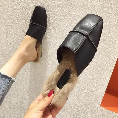 Mules Shoes Pleated Slippers Woman Comfortable Leather Slides Female Casual