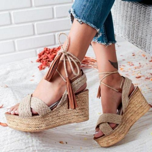 Summer Women Sandals Platform Wedge Sandals Women Solid Summer Shoes Gladiator Sandals Big Size