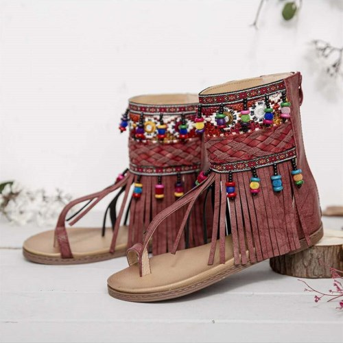 Women Bohemian Sandals Flat Tassels Casual Summer Beach Sandals Soft Ladies Shoes