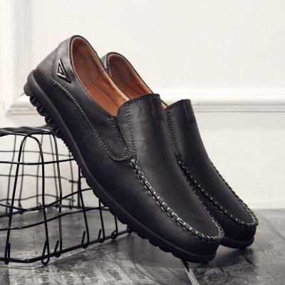 Genuine Leather Men Casual Shoes Italian Men Loafers Breathable Slip on Black Driving Shoes Plus Size