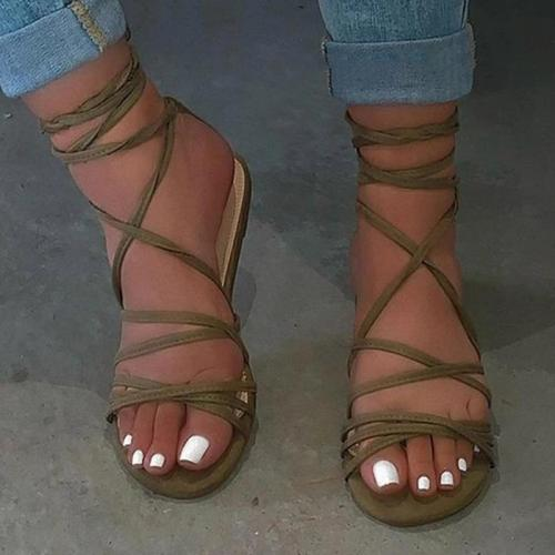 Flat With Strappy Lace-Up Open Toe Plain Sandals