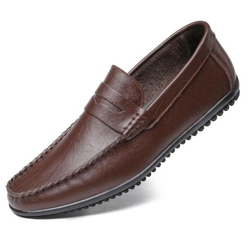 Man Shoes Slip on Summer Men's Leather Shoe Soft Breathable Flat Loafers Male Moccasins Leisure Footwear