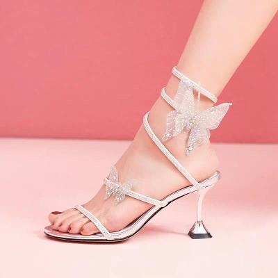 Sexy Thin High Heels Crystal Ankle Strap Gladiator Sandals Woman Party Shoes Dropshipping Summer Women Silver Butterfly Sandals