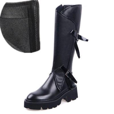 Women Long Boots Knee High White Cowhide Genuine Leather Platform Riding Nightclub Dancing Metal Buckle