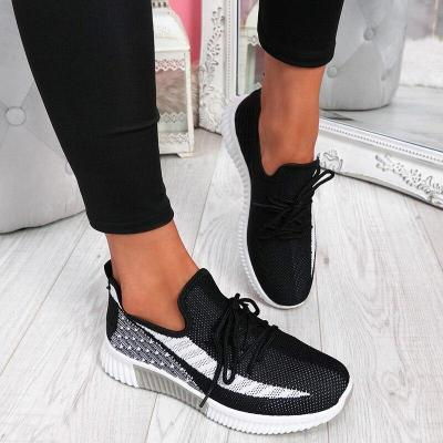 Flats Women Sneakers Shoes Spring Sneakers Women Summer Lace Up Flats Women Plus Size Flying Woven Shoes