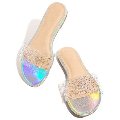 Women Sandals Roman Style Shine Open Toe Word Women Slippers Comfortable Flat Bottom Slippers Plus Size 36-42