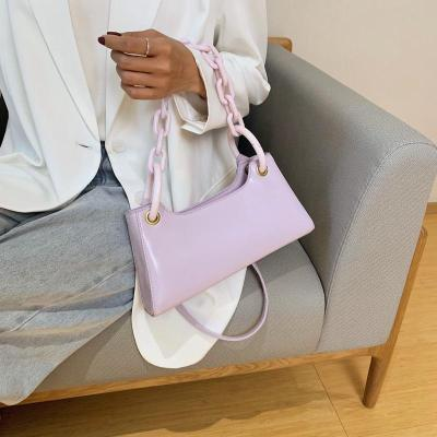 Summer Solid Color PU Leather Small Armpit Bags For Women Travel Hand Bag
