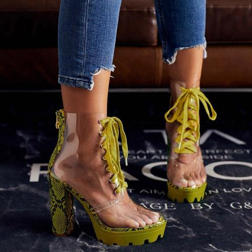 Women Ankle Boots Booties High Heels Pumps Transparent Sandals Lace Up Shoes Woman