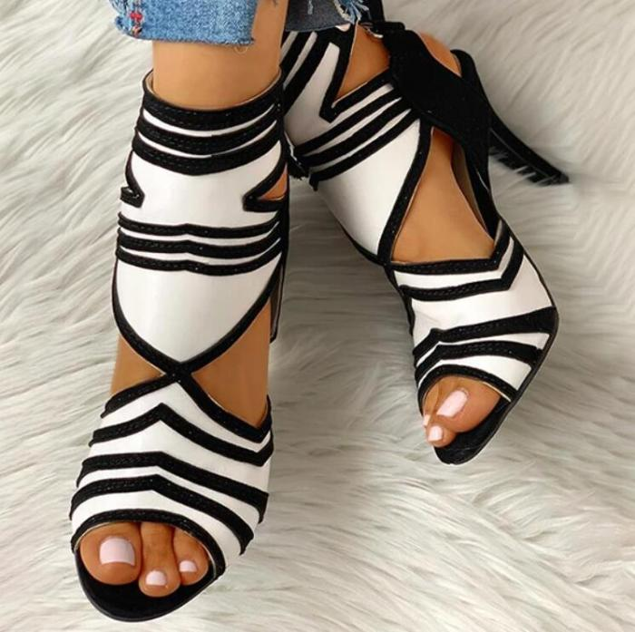 Fashion Woman Sandals Lace Up High Heel Party