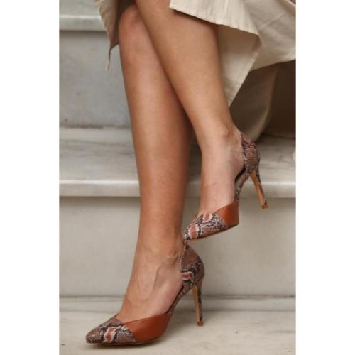Burgundy Snake Stiletto Slip-on Pointed Toe Green Purple High Heels Sexy Women Dress Shoe