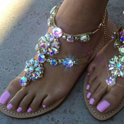 Woman Sandals Women Shoes Rhinestones Chains Thong Gladiator Flat Sandals Crystal Chaussure Plus Size