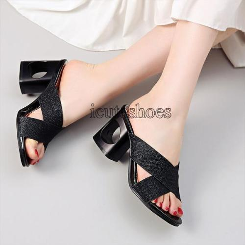 Solid Colors Summer High Heels Sandals Fashion Dress Shoes Women Slipper