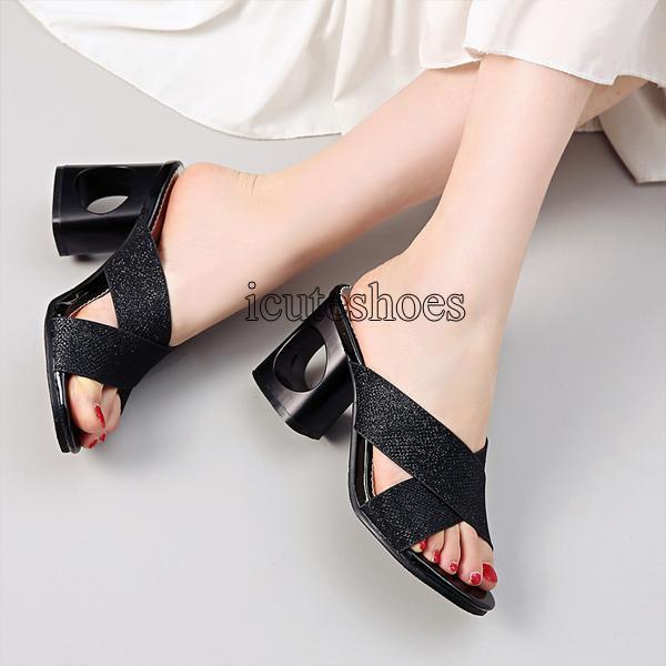 Solid Colors Summer High Heels Sandals Fashion Dress Shoes Women Slipper