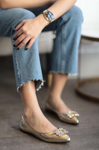 Gold Silver Colour Stone Buckle Women Shoes Babettes Flats Women Casual Spring New Fashion Women Oxford