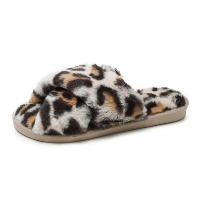 Open Toe Fashion Warm Women's Sandals Women's Leopard Pattern Slippers Women