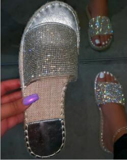 Women Summer Sandals Flats Plus Size Shoes Woman Shiny Bling Crystal Deco Slippers Open Toe Sandalias