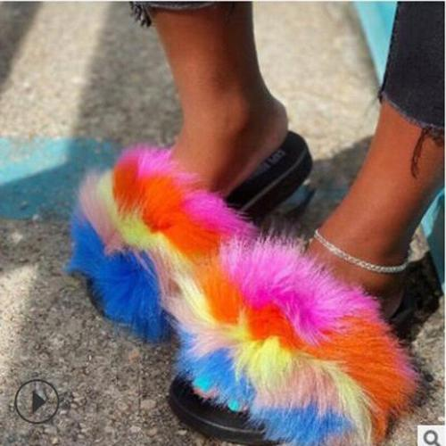 2020 Summer New Women's Shoes Plush Slippers Flat Bottom Open Toe Fashion Outdoor Beach Shoes Plus Size