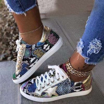 Women Lace-Up Flat Heel Sneakers
