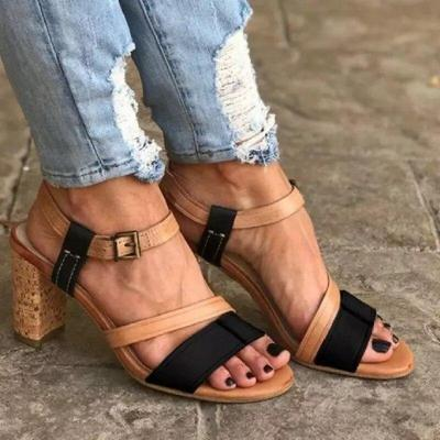 Summer High Heels Women Mixed Colors Retro Gladiator Open Toe Ladies Beach Shoes Sexy Buckle Strap Roman Sandals