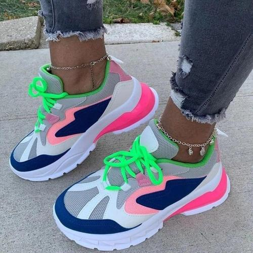Mixed Colors Ladies Flat Platform Lace Up Shoes Women Casual Flats Spring Autumn Sneakers 2020 Big Size Brand