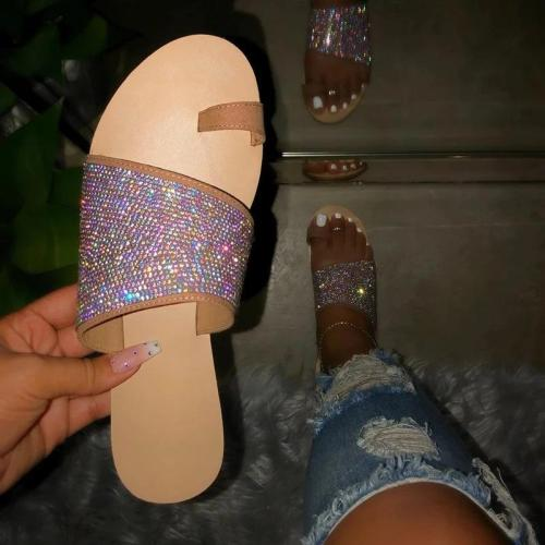 Women Toe Ring Rhinestone Slip-on Sandal